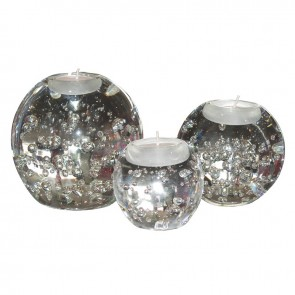 Glass Bubble T-Light Holders - Set of 3