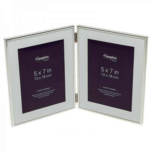 Mayfair Silver 5x7 Hinged Double Frame