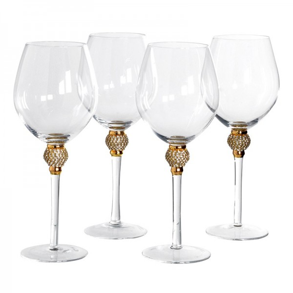 Set Of 4 Gold Crystal Red Wine Glasses