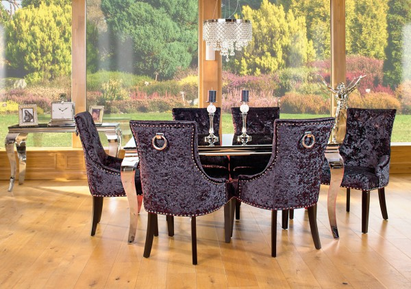 Glamour Dining Set - Black Glass