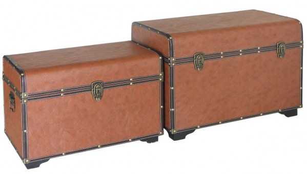 Brown Faux Leather Trunks - Set of 2