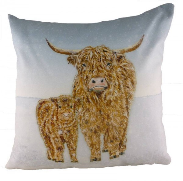 Highland Cow in the Snow Cushion