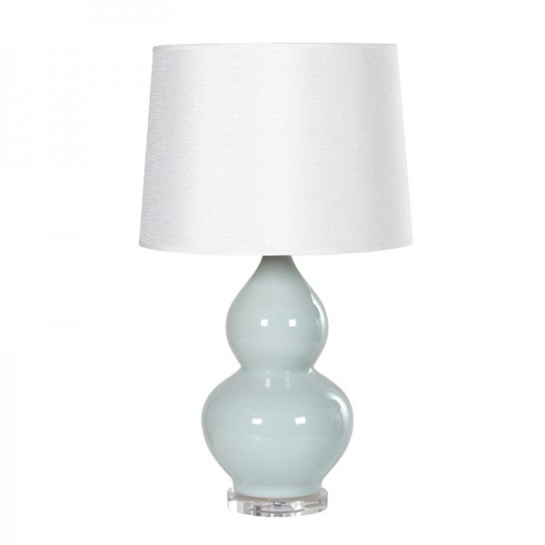 Teal Hourglass Lamp with Shade