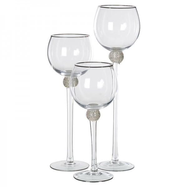 Silver Diamante Candleholders Set of 3