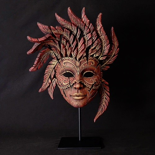 Venetian Carnival Mask - Red - Edge