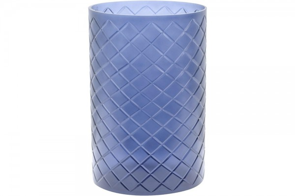 Beaufort Large Blue Cut Glass Hurricane