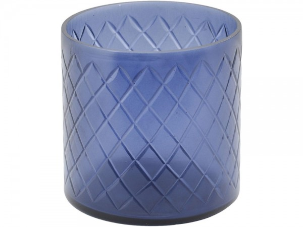 Beaufort Blue Cut Glass Votive
