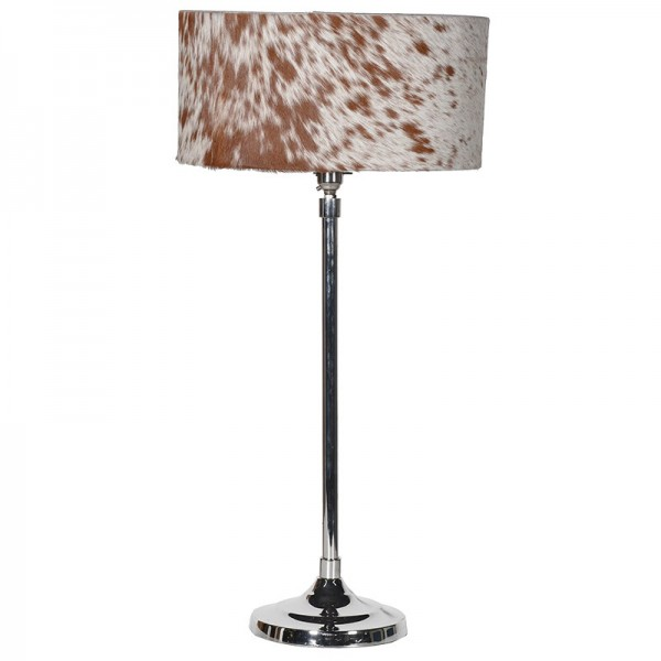 Tall Nickel Lamp with Hide Shade