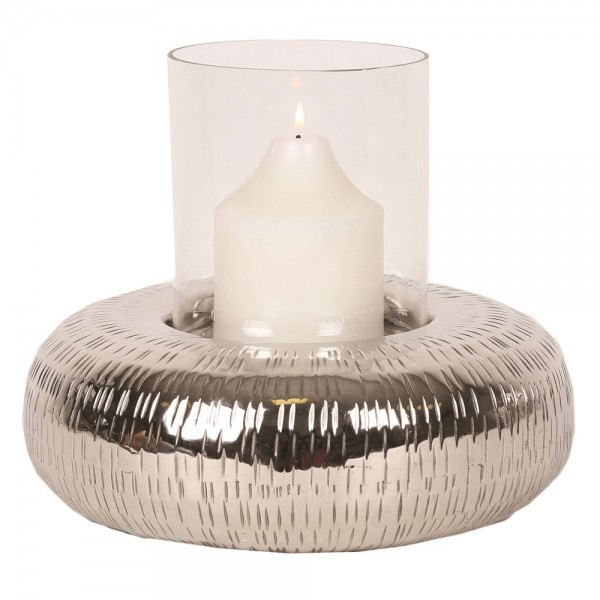 Hammered Effect Silver Candle Hollder