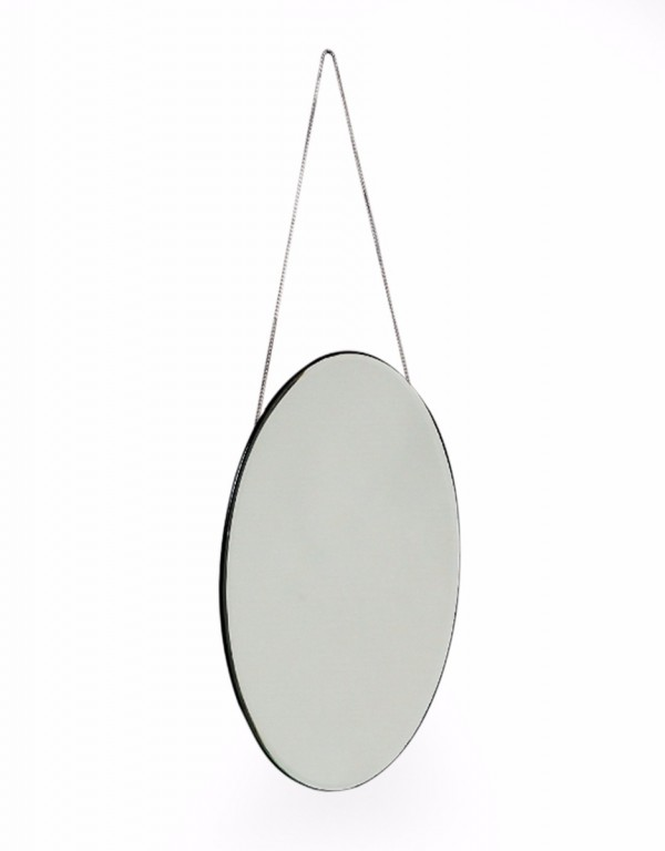 Small Oval Art Deco Mirror with Chain