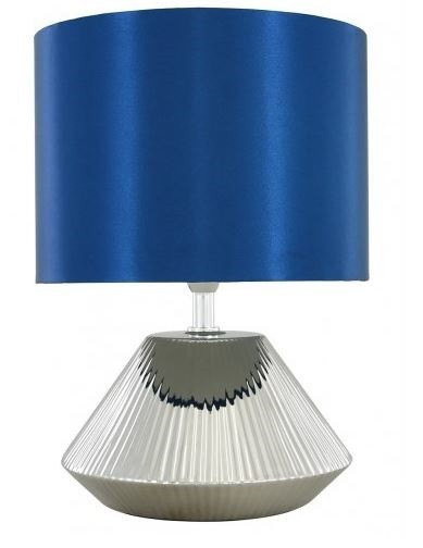 Silver Ceramic Cone Table Lamp Blue