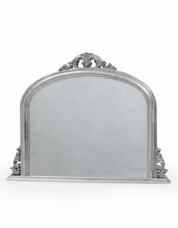 Classic Silver Overmantel Wooden Mirror