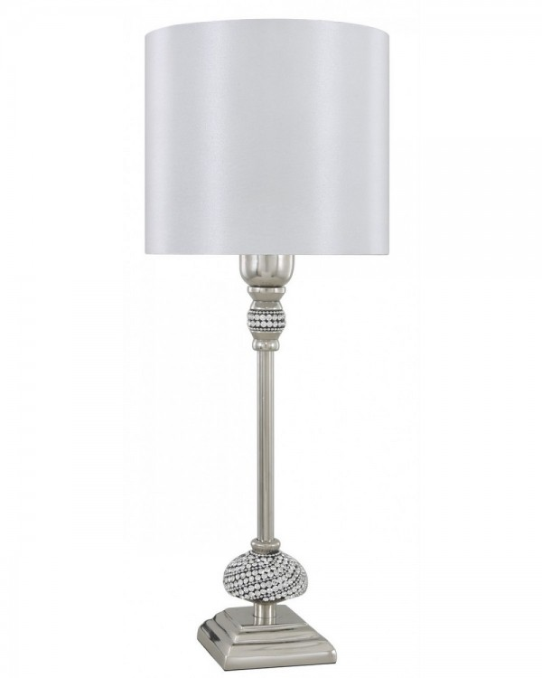 Nickel Diamante Candlestick Table Lamp