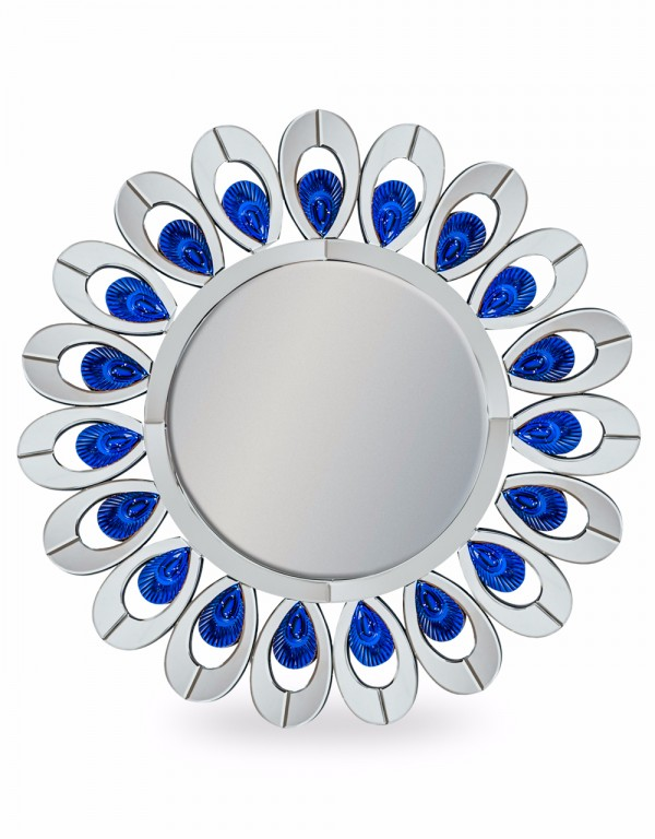 Venetian Round Peacock Feather Mirror