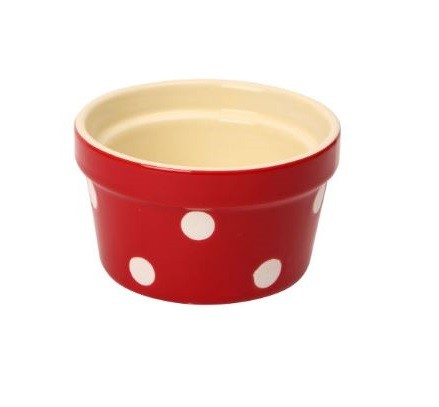 Polka Dot Round Ramekin - Red
