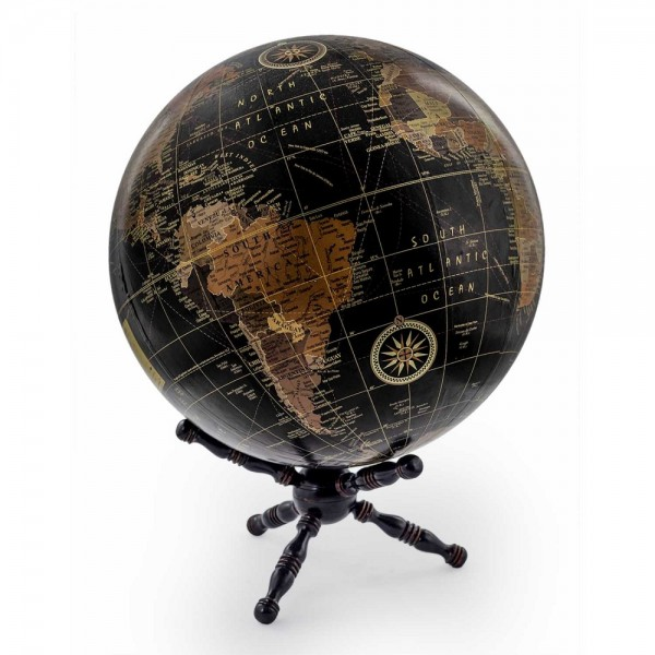 Large Black Globe on Wooden Stand