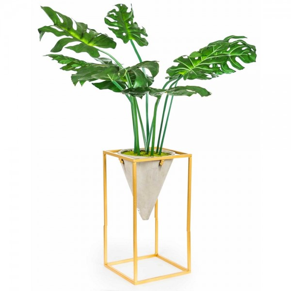 Artificial Potted Plant Gold Stand
