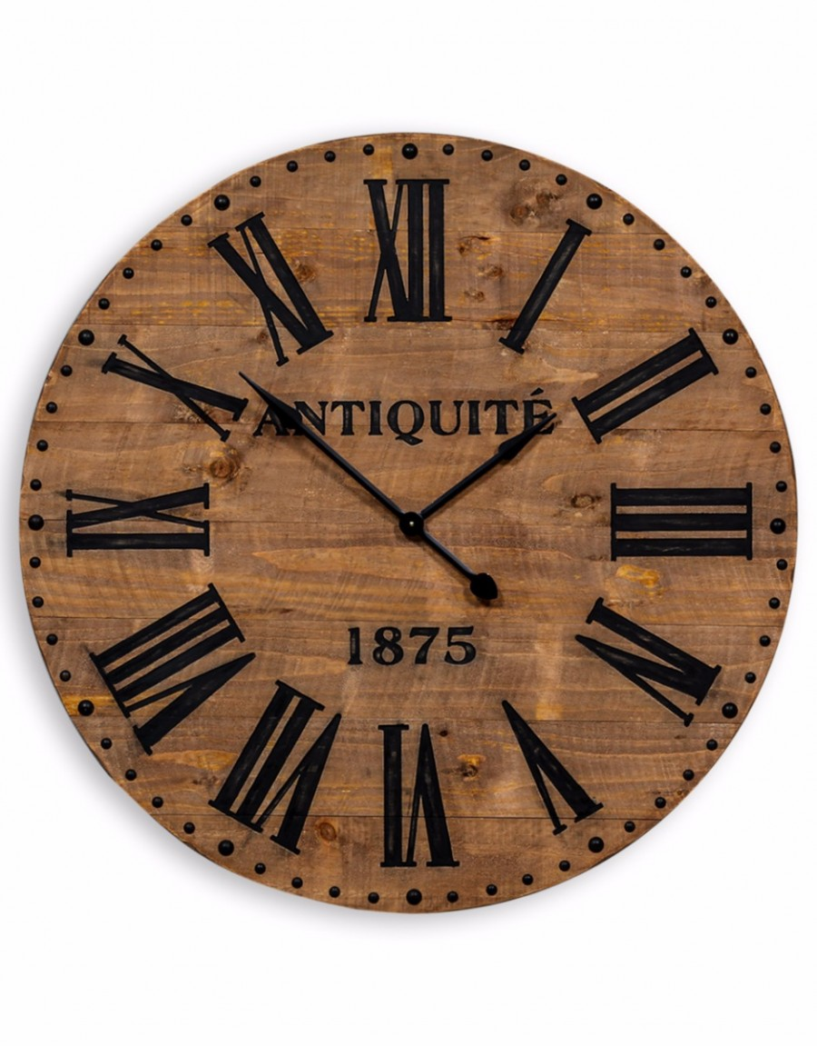 Antiqued Large Wooden Wall Clock | Gillies