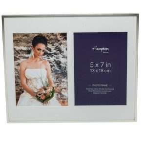 Mayfair Silver 5x7 Silver Double  Frame