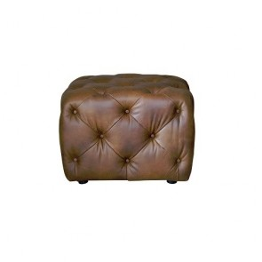 Small Buttoned Stool (Leather)