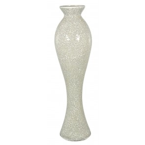 Cream Sparkle Mosaic Extra Tall Vase