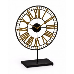 Black & Gold Skeleton Clock on Stand