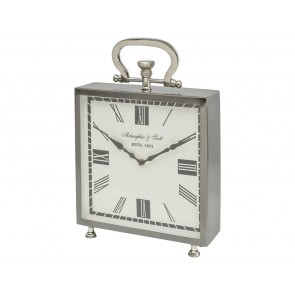 Miro Square Grey & Nickel Table Clock