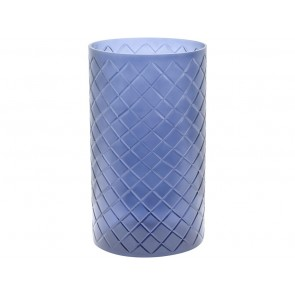Beaufort Large Blue Cut Glass Hurricane