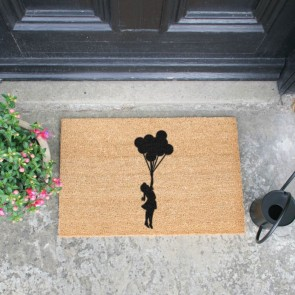 Flying Balloon Girl Doormat