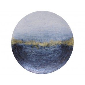 Blue & Gold Abstract Iron Wall Disc