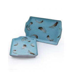 Set of 2 Blue Feather Ceramic Trays