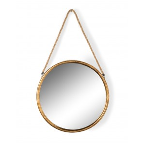 Large Round Gold Metal Mirror on Rope