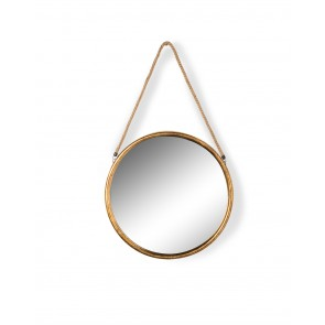 Small Round Gold Metal Mirror on Rope