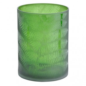 Green Leaf Glass Hurricane