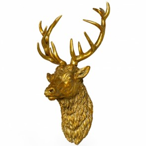 Large Gold Stag Wall Head