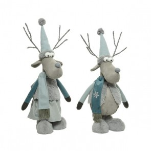 Blue Deer with Coat and Hat - 81cm